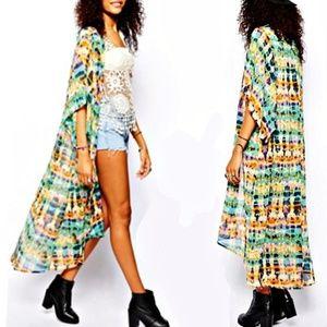 BAND OF GYPSIES Long Kimono Jacket in Camo Tie Dye